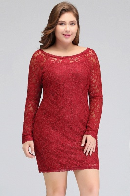 JANELLE | Sheath Scoop Short Long Sleeves Plus size homecoming Dresses Lace Burgundy_4