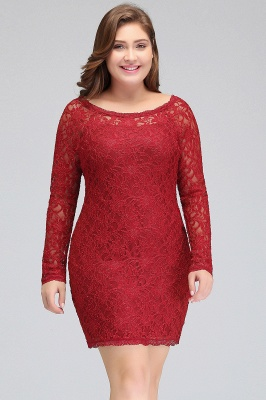 JANELLE | Sheath Scoop Short Long Sleeves Plus size homecoming Dresses Lace Burgundy_5