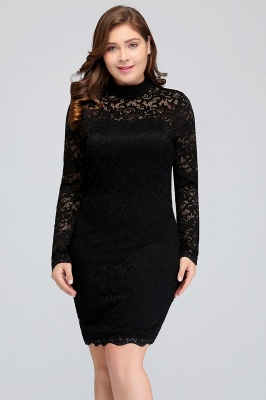 JANE | Mermaid Crew Short Long Sleeves Lace Black Plus size homecoming Dresses_6