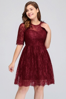 B-JASMINE | A-Line Crew Half Sleeves Lace Burgundy Plus size homecoming Dresses_4