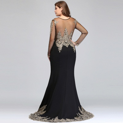 ISABELLE | Mermaid Crew Floor Length Long Sleeves Plus size Evening Dresses with Appliques_9