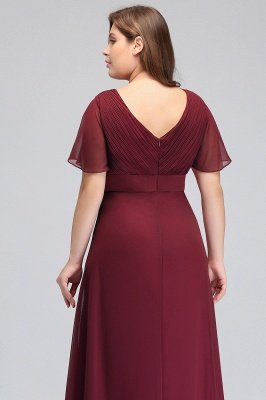 JAYDE | Mermaid V-neck Floor Length Short Sleeves Burgundy Plus size bridesmaid Dresses with Sash_7