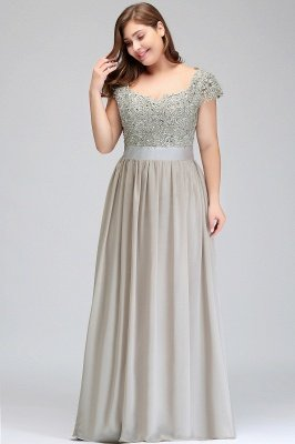 HOLLAND | A-Line Scoop Floor Length Cap Sleeves Appliques Silver plus size BridesmaidDresses with Sash_11