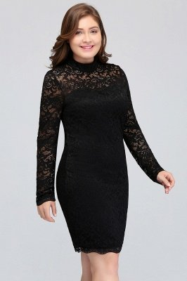JANE | Mermaid Crew Short Long Sleeves Lace Black Plus size ...