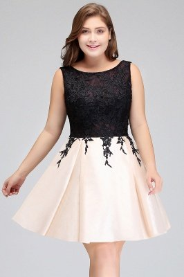 ISABELLA | A-Line Scoop Short Sleeveless Plus size Homecoming Dresses with Appliques_10