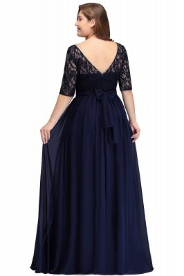 IVANNA | A-Line Scoop Half Sleeves Long Navy Blue Plus size bridesmaid Dresses with Lace_8
