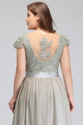 HOLLAND | A-Line Scoop Floor Length Cap Sleeves Appliques Silver plus size BridesmaidDresses with Sash_15