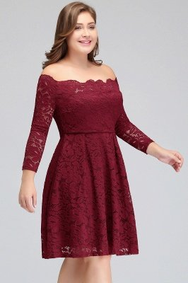 JASMIN | A-Line Off-Shoulder Short Lace Burgundy Plus size homecoming Dresses_6