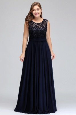 IVY | A-Line Crew Long Sleeveless Dark Navy Plus size bridesmaid Dresses with Lace_14