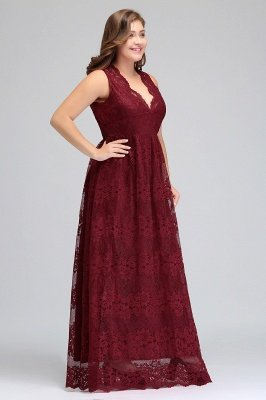 JADE | A-Line V-neck Floor Length Sleeveless Lace Burgundy Plus size ...