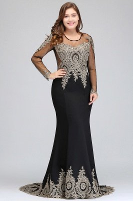 ISABELLE | Mermaid Crew Floor Length Long Sleeves Plus size Evening Dresses with Appliques_4
