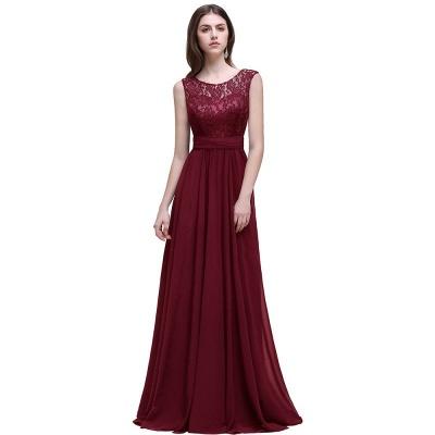 AUDRINA | A-ligne Scoop en mousseline de soie robe de bal avec dentelle_1