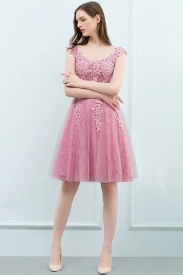 WILMA | Ball Gown Illusion Neckline Tea Length Lace Tulle Dusty Pink Prom Dresses with Beading_16