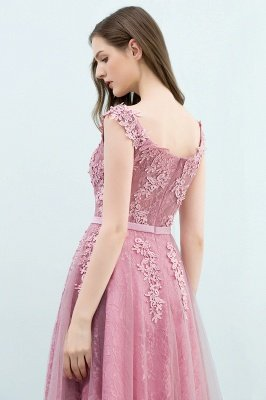 WILMA | Ball Gown Illusion Neckline Tea Length Lace Tulle Dusty Pink Prom Dresses with Beading