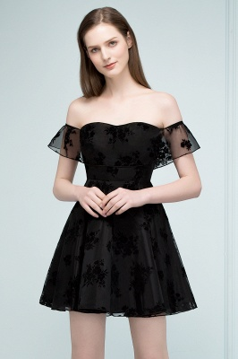 JULIE | A-line Off-shoulder Short Lace Appliqued Tulle Prom Dresses