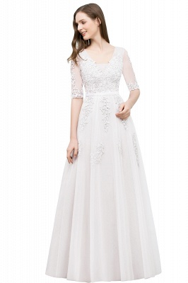 JORDYNN | A-line Half-sleeve V-neck Floor Length Appliqued Tulle Prom Dresses with Sash_1
