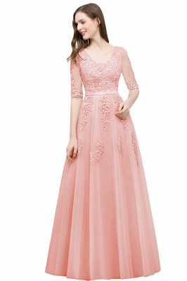 JORDYNN | A-line Half-sleeve V-neck Floor Length Appliqued Tulle Prom Dresses with Sash_3