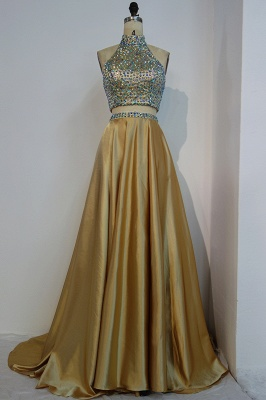 JESSA | A-line Two-piece Floor Length Halter Prom Dresses with Crystals_1