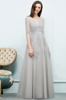 JORDYNN | A-line Half-sleeve V-neck Floor Length Appliqued Tulle Prom Dresses with Sash_13