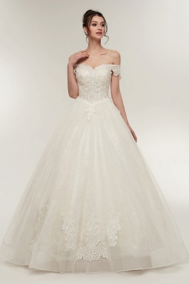 ZOLA | A-line Off-shoulder Sweetheart Floor Length Lace Appliques Wedding Dresses with Lace-up_7