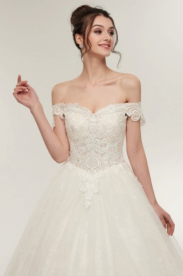 ZOLA | A-line Off-shoulder Sweetheart Floor Length Lace Appliques Wedding Dresses with Lace-up_4