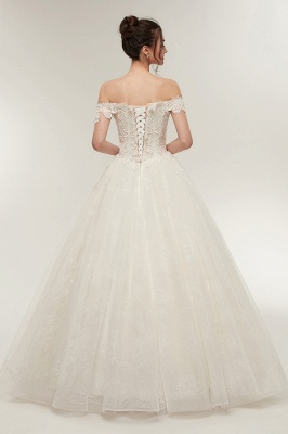 ZOLA | A-line Off-shoulder Sweetheart Floor Length Lace Appliques Wedding Dresses with Lace-up_3