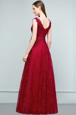 JUDITH   A-line V-neck Long Sleeveless Lace Appliques Prom Dresses with Crystals_3