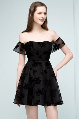 JULIE | A-line Off-shoulder Short Lace Appliqued Tulle Prom Dresses_9