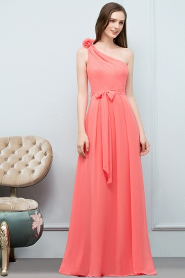 VALERIA | A-line One Shoulder Floor Length Chiffon Prom Dresses with Bow Sash_6