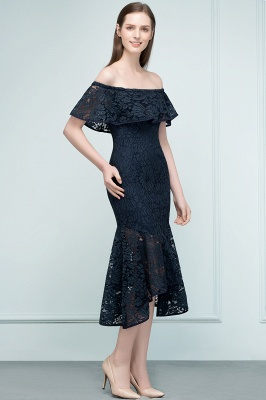 VERENA | Mermaid Off-shoulder Tea Length Black Lace Prom Dresses