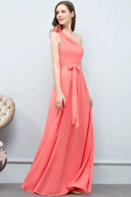 VALERIA | A-line One Shoulder Floor Length Chiffon Prom Dresses with Bow Sash_10
