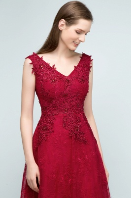 JUDITH   A-line V-neck Long Sleeveless Lace Appliques Prom Dresses with Crystals_4