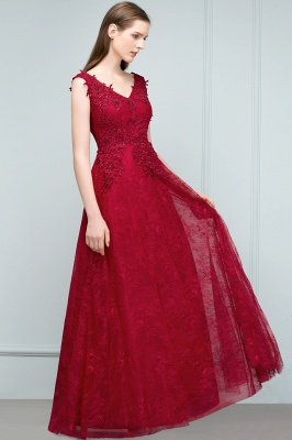 JUDITH   A-line V-neck Long Sleeveless Lace Appliques Prom Dresses with Crystals_7