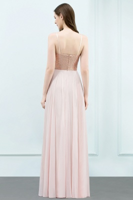 JORDYN | A-line Floor Length Spaghetti Sequined Top Chiffon Prom Dresses_3