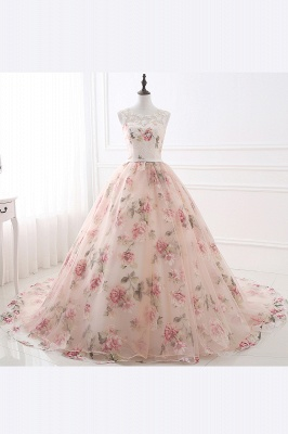 ALIA | Ball Gown Sweetheart Vintage Organza Evening Dresses With Print_4