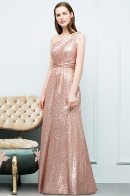 JOURNEE | A-line One-shoulder Sleeveless Floor Length Sequins Prom Dresses