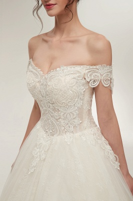 ZOLA | A-line Off-shoulder Sweetheart Floor Length Lace Appliques Wedding Dresses with Lace-up_5