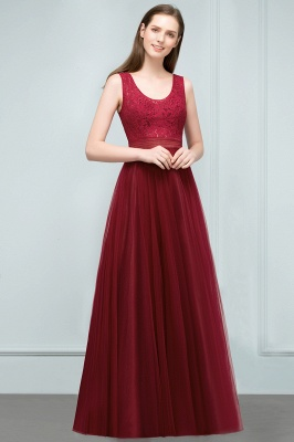 JULIANNA | A-line Scoop Long Sleevless Lace Top Burgundy Tulle Prom Dresses_8