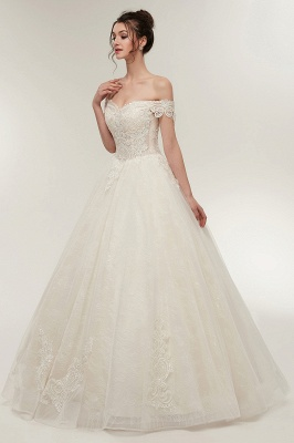 ZOLA | A-line Off-shoulder Sweetheart Floor Length Lace Appliques Wedding Dresses with Lace-up_8