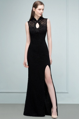 VERA | Mermaid Sleeveless Keyhole Neckline Floor Length Lace Prom Dresses with Crystals_10