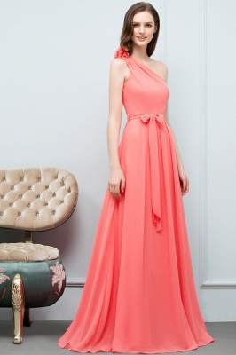 VALERIA | A-line One Shoulder Floor Length Chiffon Prom Dresses with Bow Sash_5