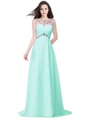 AINSLEY   A-ligne chérie robe de soirée en mousseline de soie avec cristal_5