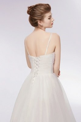 YVONNE | A-line Hi-lo Spaghetti Sweetheart Tulle Ivory Wedding Dresses with Ruffles_5