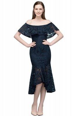 VERENA   Mermaid Off-shoulder Tea Length Black Lace Prom Dresses_10