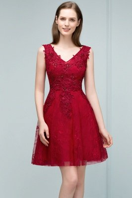 JULIA | A-line Sleeveless Short V-neck Lace Appliqued Tulle Prom Dresses_7