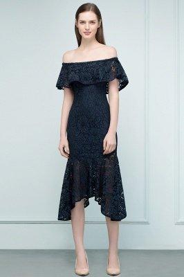 VERENA   Mermaid Off-shoulder Tea Length Black Lace Prom Dresses_4