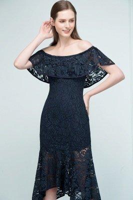 VERENA   Mermaid Off-shoulder Tea Length Black Lace Prom Dresses_8