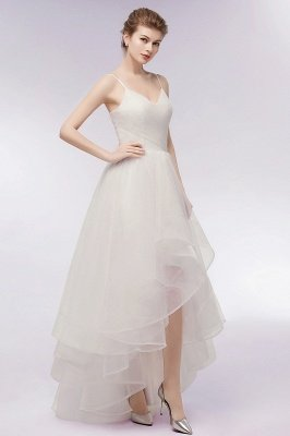 YVONNE | A-line Hi-lo Spaghetti Sweetheart Tulle Ivory Wedding Dresses with Ruffles_10