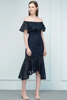 VERENA   Mermaid Off-shoulder Tea Length Black Lace Prom Dresses_6