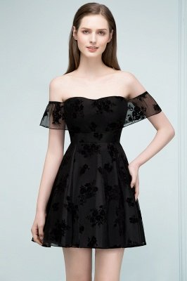 JULIE | A-line Off-shoulder Short Lace Appliqued Tulle Prom Dresses_7